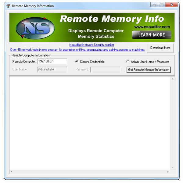RemoteMemoryInfo displays remote network computer memory usage and statistics. You must have administrative privileges on the remote network computer. All the mentioned features are provided with a user friendly graphical interface.