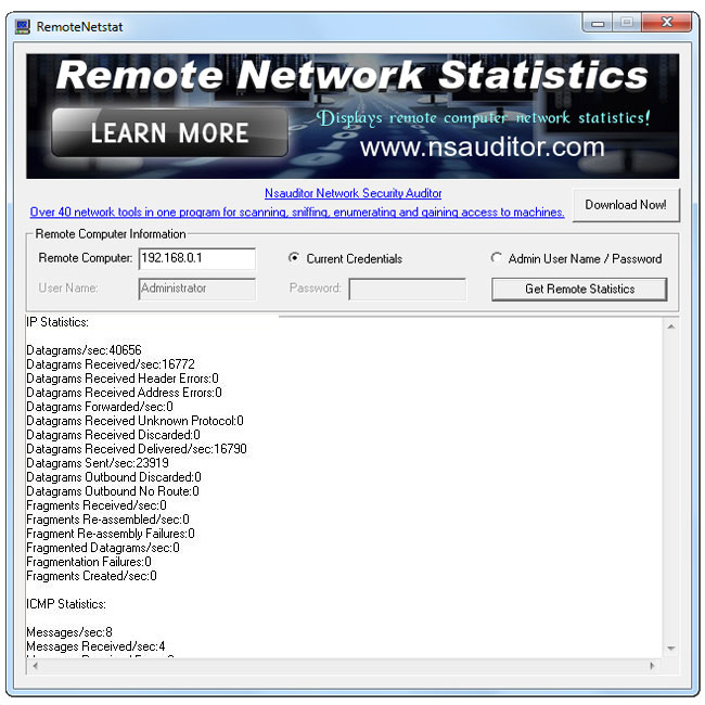 Displays remote computer network statistics.