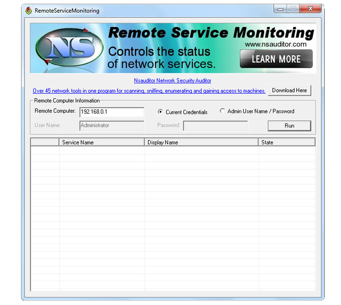 Monitors the status of network  services.